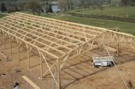 Batiment agricole bois charpente traditionnelle triangulee